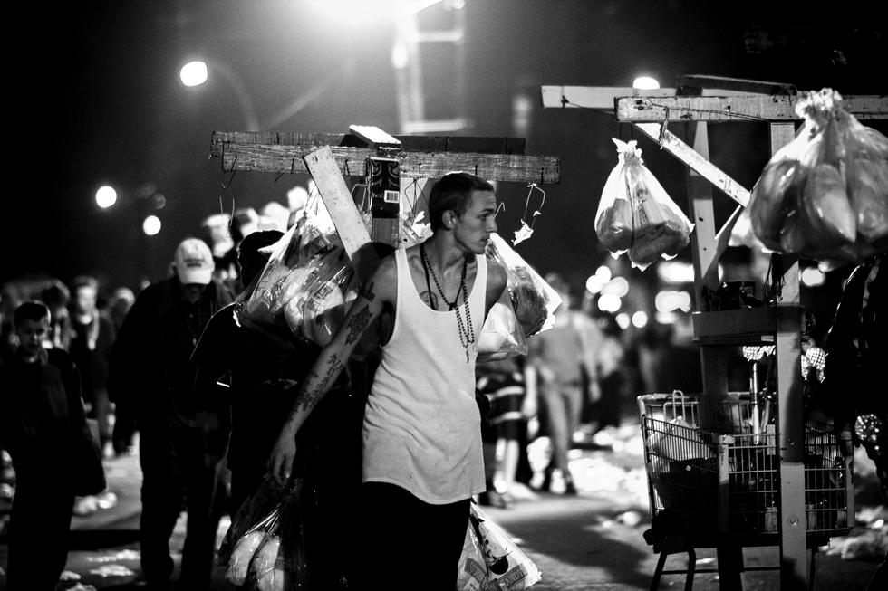 A young man heading home after Mardi Gras.  New Orleans Feburary 2013