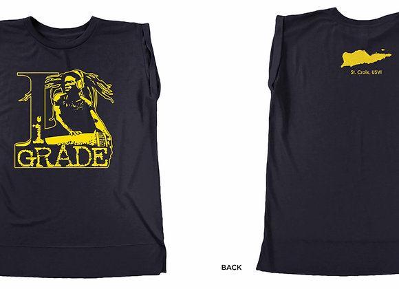 Navy with gold logo - sistren muscle t