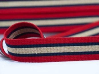 DWM40-1 – 40mm wide multi coloured webbing – red/navy/beige