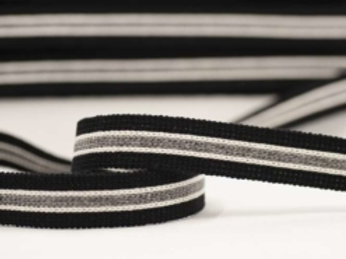DWM25-5 – 25mm wide multi coloured webbing – black/ecru/grey