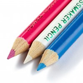 Chalk pencils and brush, assorted colours