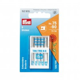 Embroidery sewing machine needles, 75 and 90