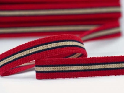DWM25-1 – 25mm wide multi coloured webbing – red/navy/beige