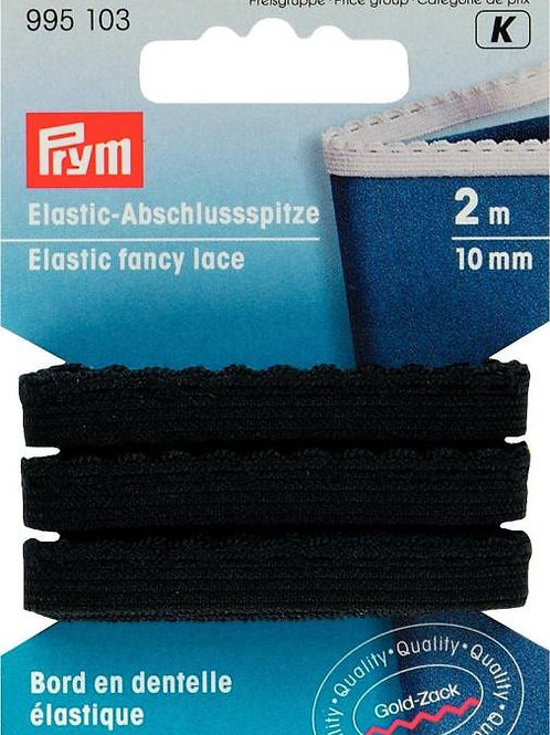 Elastic fancy lace, 10mm, black, 2m