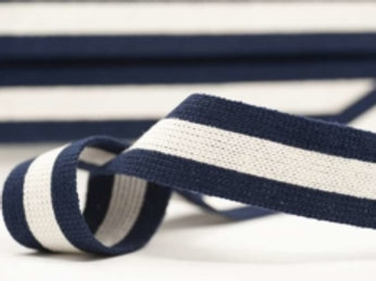 DWM40-6 – 40mm wide multi coloured webbing – navy/ecru