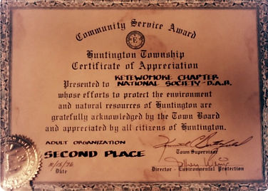 Community Service Award for the Ketewamoke Chapter, NSDAR