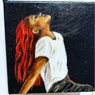 "'2021' Oil on Canvas 4""x4""x1"""