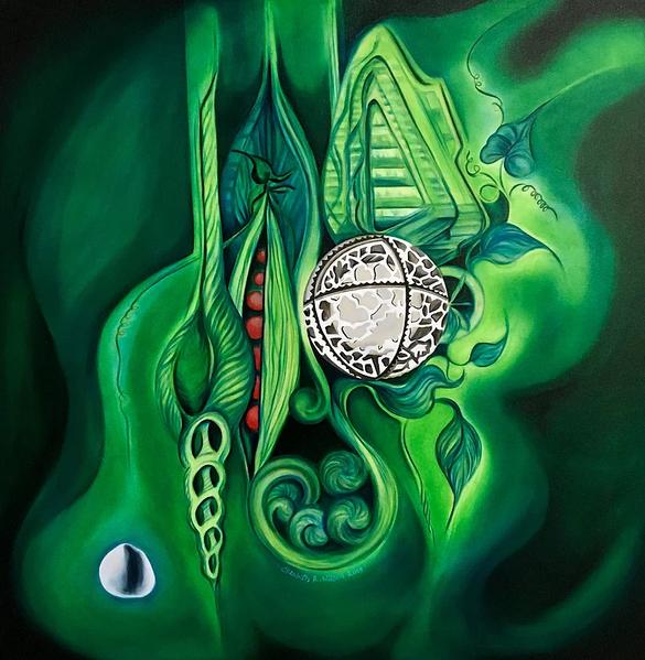 """'BioPunk III,' by Elizabeth R. Wilson, 2019. Oil on Canvas, 36""""x36"""""""