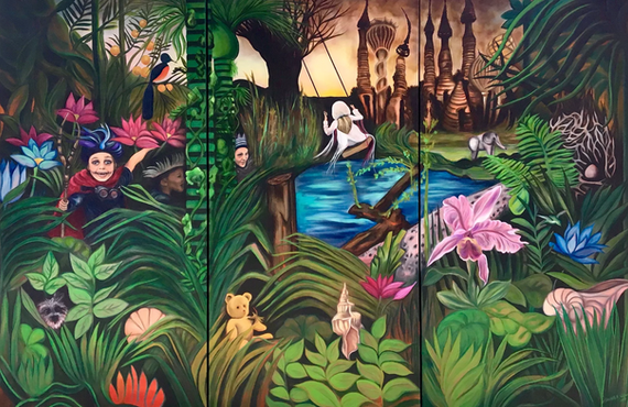 'Rewilding,' by Elizabeth R. Wilson, 2019. Oil on Canvas, Triptych 9x6 ft