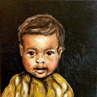 """'Little One,' Oil on Canvas 4""""x4""""x1"""""""