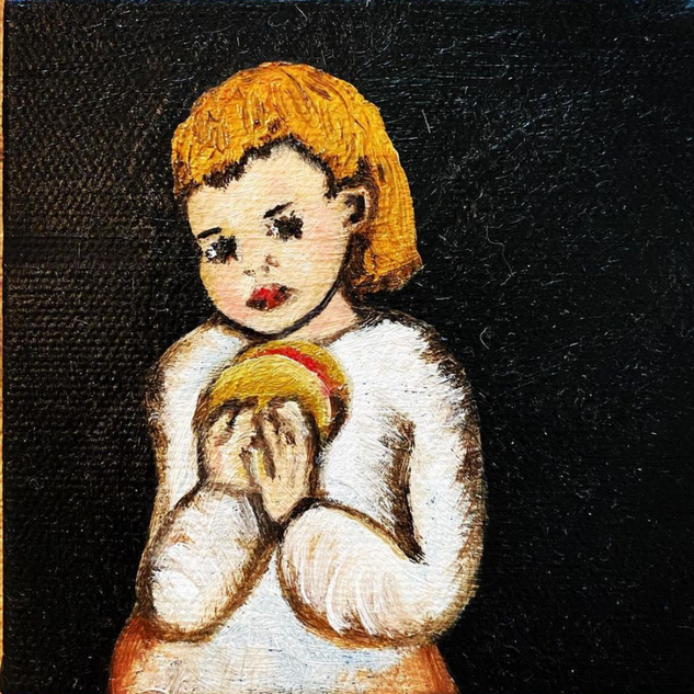 "'Girl with a Taco,' Oil on Canvas 4""x4""x1"""