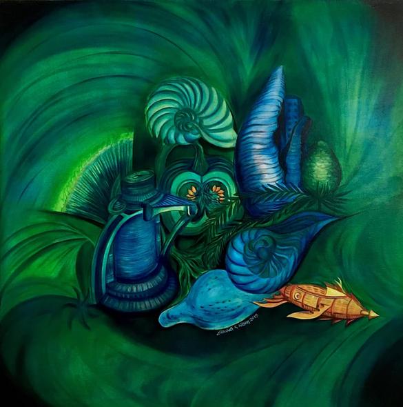 """'BioPunk II,' by Elizabeth R. Wilson, 2019. Oil on Canvas, 36""""x36"""""""