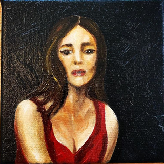 """'Amore,' Oil on Canvas 4""""x4""""x1"""""""