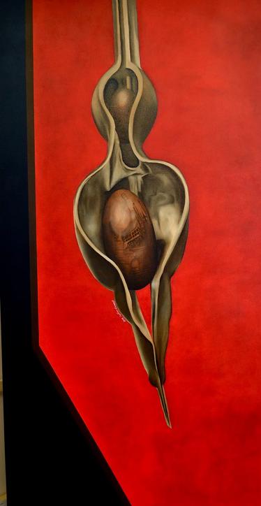 "'Coral Bean,' by Elizabeth R. Wilson, 2017. Oil on Canvas, 36""x72"""