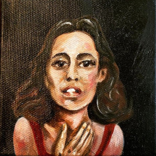 """'The Passion of the People' Oil on Canvas 4""""x4""""x1"""""""