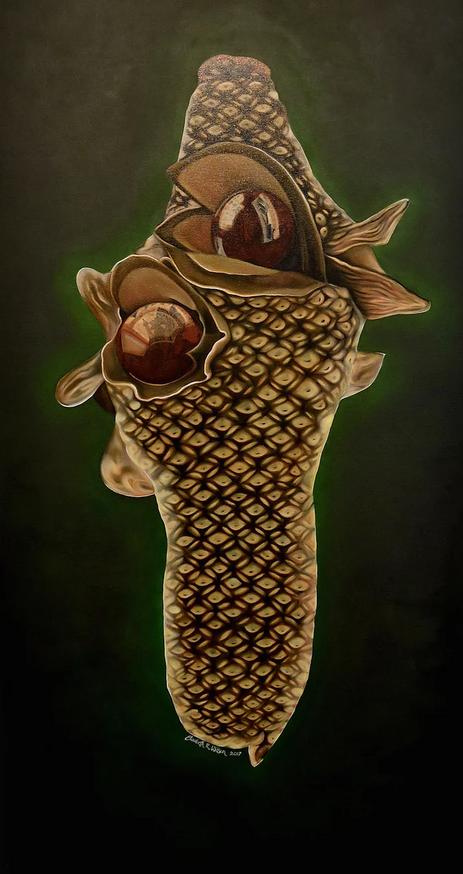 "'Propeller Banksia,' by Elizabeth R. Wilson, 2017. Oil on Canvas, 36""x72"""