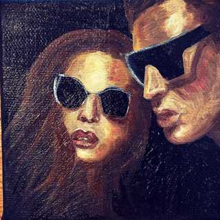 """'The Italians,' Oil on Canvas 4""""x4""""x1"""""""