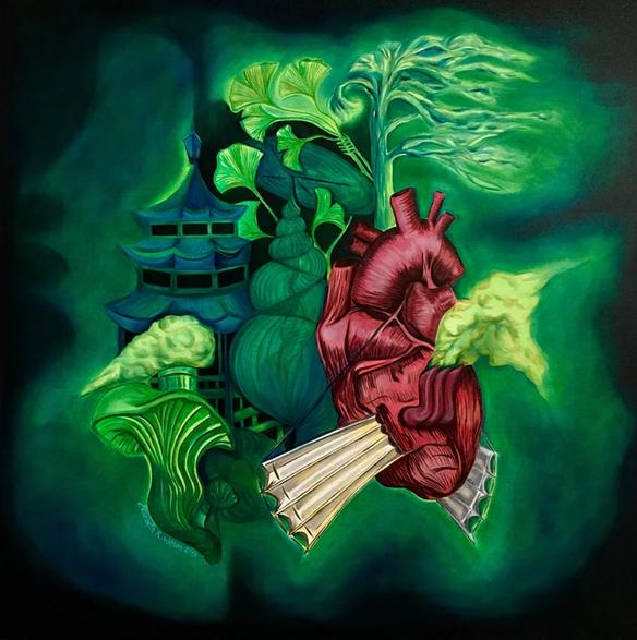 """'BioPunk I,' by Elizabeth R. Wilson, 2019. Oil on Canvas, 36""""x36"""""""