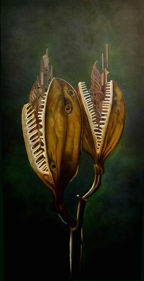 """'Giant Himalayan Lily,' by Elizabeth R. Wilson, 2017. Oil on Canvas, 36""""x72"""""""