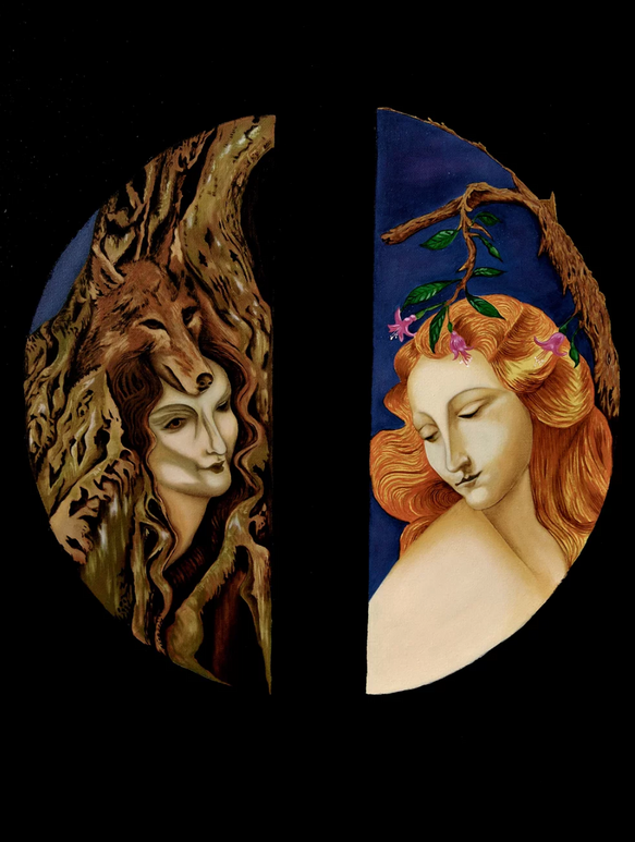 """The dual nature. Kahiketa swamp forest & wild woman. Maiden & the Tree fuchsia,"""" by Elizabeth R. Wilson, 2013. Oil on Canvas, 47""""x31"""""""