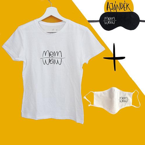 Fehér póló + Fehér adomány maszk csomag ajándék szemmaszkkal