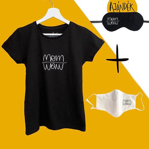 Fekete póló + Fehér adomány maszk csomag ajándék szemmaszkkal