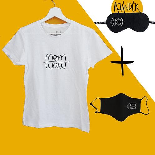 Fehér Póló + Fekete adomány maszk csomag ajándék szemmaszkkal