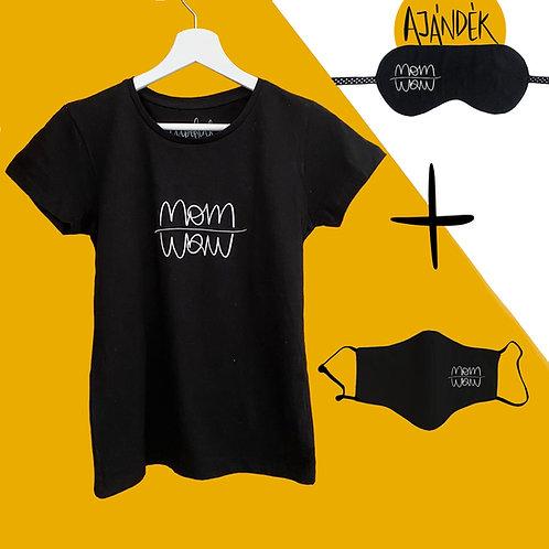 Fekete póló + Fekete adomány maszk csomag ajándék szemmaszkkal