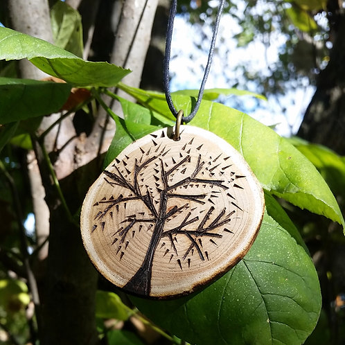 Tree Of Life, Wood Burned Necklace