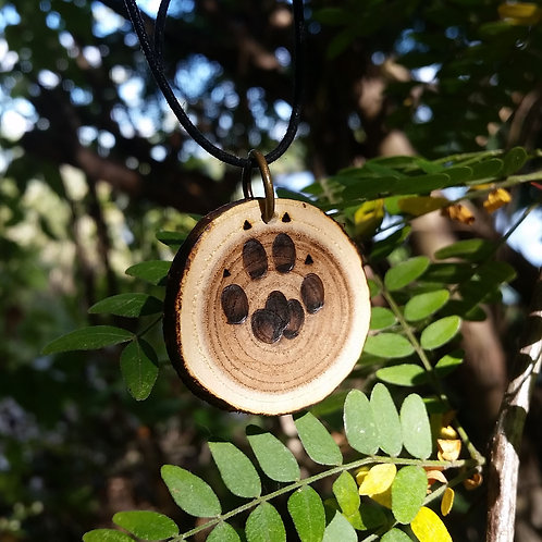 Kitty Paw Necklace, Wood Burned Pine.