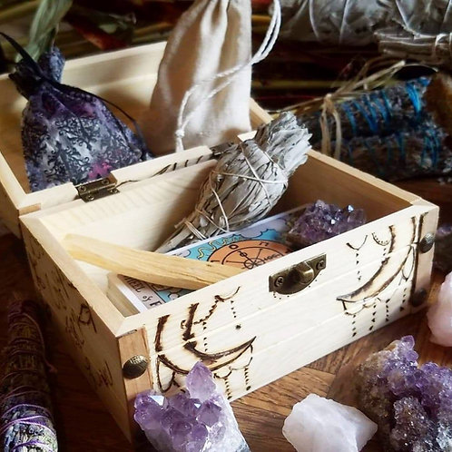 Sage, Tarot, Crystal Box, Handcrafted Wood Burned Art