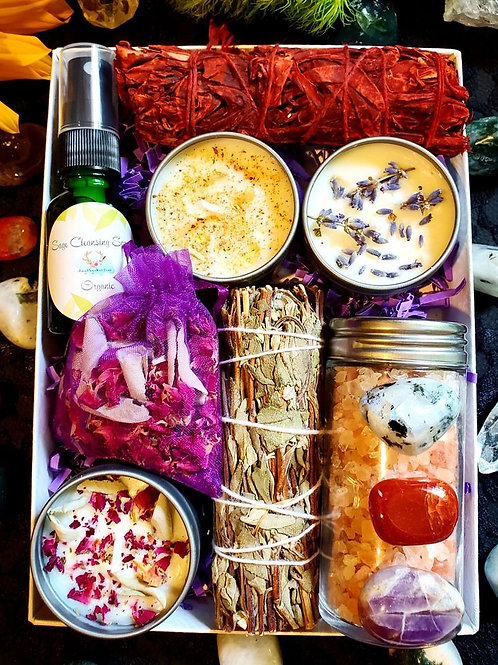 Candles & Cleanse Sage Box Kit Smudging/Cleansing - Surprise Crystal Bath Salts.