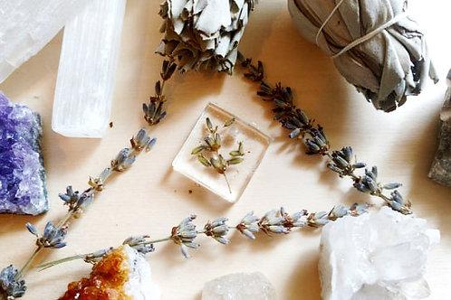 Forever Lavender leaf & Stem Dried/Pressed Square Pendant