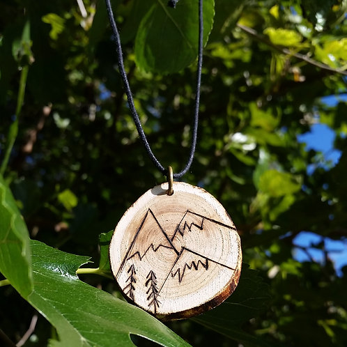 Triple Mountain Wood Burned Necklace