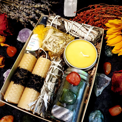 🐝Beeswax Honey & Herbs Sage Box Kit Smudging/Cleansing-Black Sea Bath Salts.