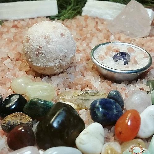 Surprise Crystal Bath Bombs, Pink Himalayan salt Small