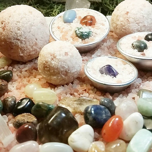 Deluxe organic pink salt crystal bath bomb SET! (Crystals in each bath bomb!!)