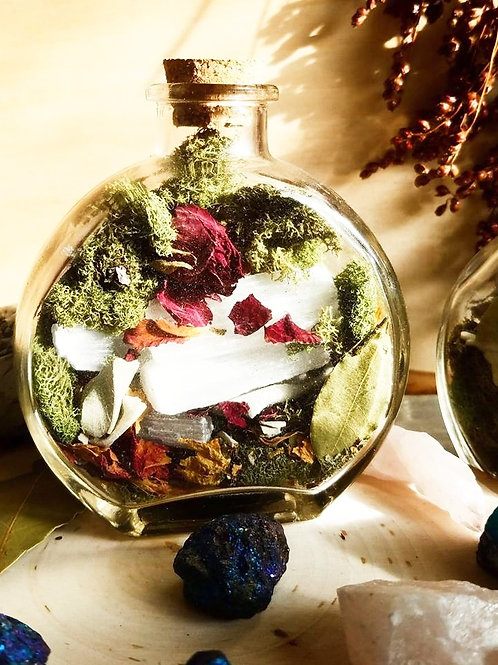 Nature in a jar -Crystal Terrarium Jar - Bohemian Decor