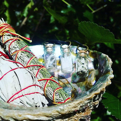 Selenite, Sage and Mixed Crystal Necklace Jar (Gift/Set)