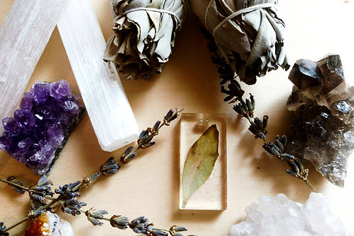 Forever White sage leaf Dried/Pressed Rectangle Pendant