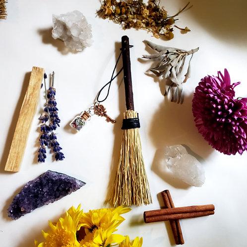 Handmade Mini  Herbal Besom broom Decor with Charm