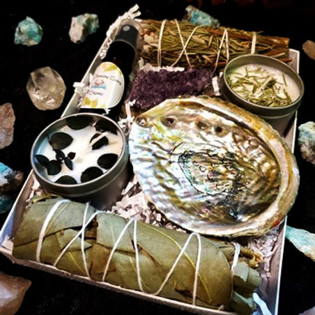 Eucalyptus and Rosemary Candles and Cleanse Box Kit with Abalone