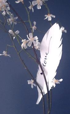 """Feder aus Papier. Hier beschriftet mit """"Love"""". Wort(e) oder Text nach Wunsch."""
