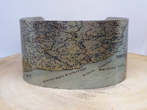 Kvichak River Alaska Map Cuff Bracelet