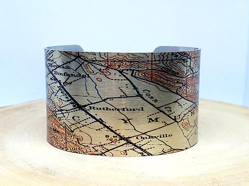 Napa Valley California Map Cuff Bracelet