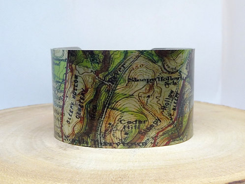 Sleepy Hollow New York Map Cuff Bracelet