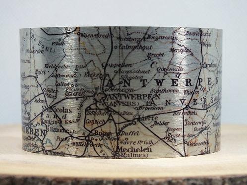 Antwerp Belgium Map Cuff Bracelet
