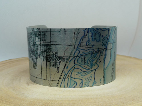Vancouver WA to Portland OR Map Cuff Bracelet