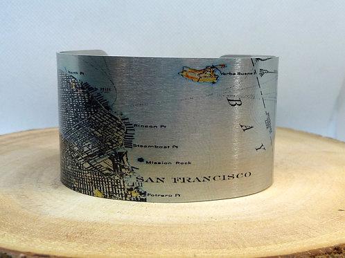 San Francisco California Map Cuff Bracelet