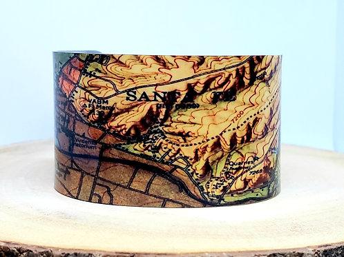 Santa Fe New Mexico Map Cuff Bracelet